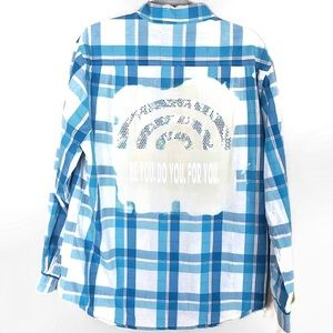Custom plaid upcycled button down shirt size Large
